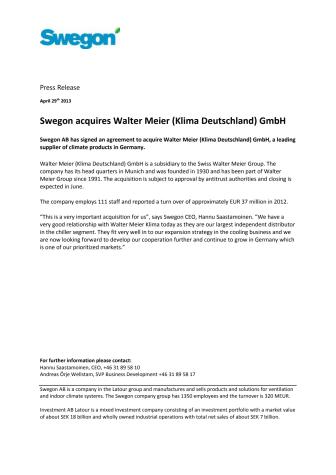 Swegon acquires Walter Meier (Klima Deutschland) GmbH