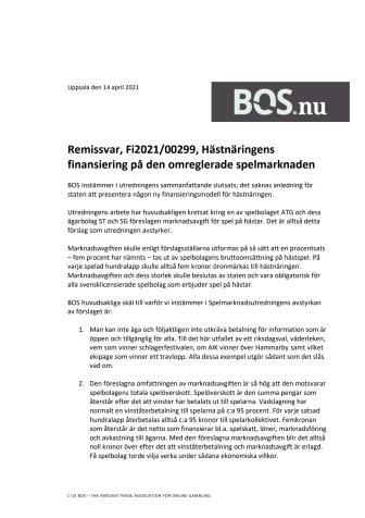 """BOS remissvar på Spelmarknadsutredningens delbetänkande """"Hästnäringens finansiering på den omreglerade spelmarknaden"""".pdf"""