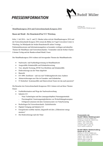 Metallbaukongress 2016 und Feinwerkmechanik-Kongress 2016