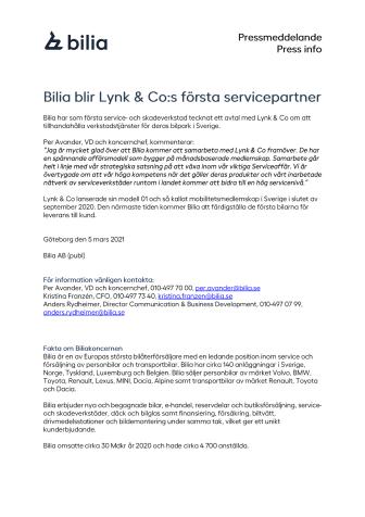 Bilia blir Lynk & Co:s första servicepartner