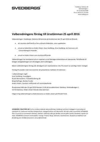 Valberedningens förslag till årsstämman 25 april 2016