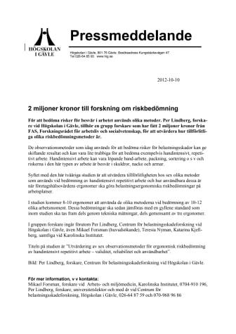 2 miljoner kronor till forskning om riskbedömning