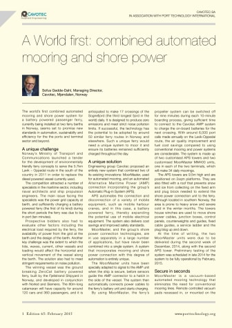 Port Technology International on our combined automated mooring and shore power application
