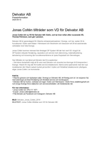 Jonas Coltén tillträder som VD för Delvator AB.