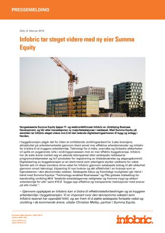 Infobric tar steget videre med ny eier Summa Equity