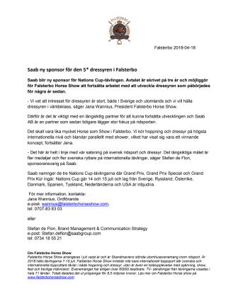 Saab ny sponsor för den 5* dressyren i Falsterbo