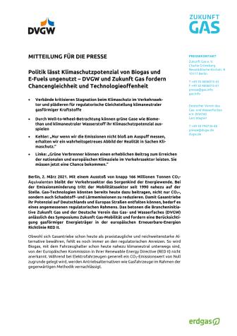 Politik lässt Klimaschutzpotenzial von Biogas und  E-Fuels ungenutzt – DVGW und Zukunft Gas fordern Chancengleichheit und Technologieoffenheit