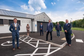 Former Mayor Cllr Peter Johnston with council, LAG and development partners at Kells & Connor Pavilion