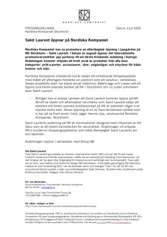 Saint Laurent öppnar på Nordiska Kompaniet