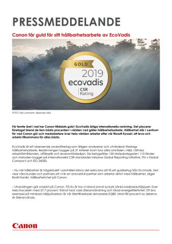Canon får guld för sitt hållbarhetsarbete av EcoVadis