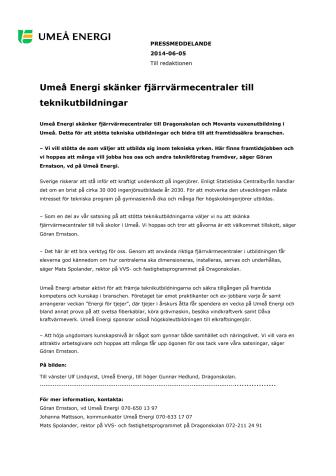 Umeå Energi skänker fjärrvärmecentraler till teknikutbildningar
