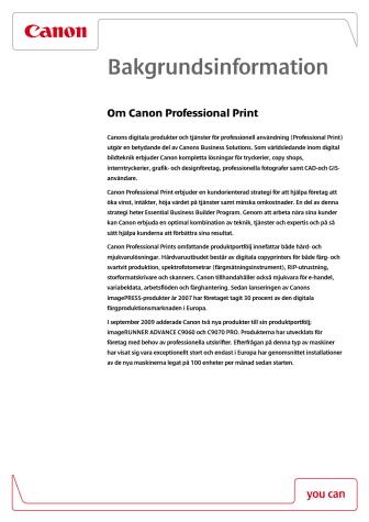 Bakgrundsinformation Proffessional Print