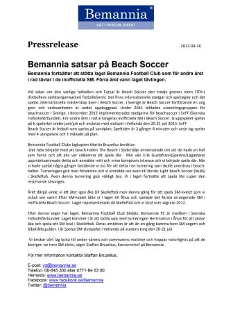 Bemannia satsar på Beach Soccer