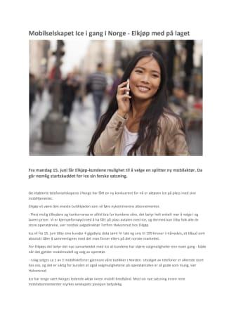 Mobilselskapet ice.net i gang i Norge - Elkjøp med på laget