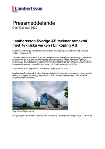 Lambertsson tecknar ramavtal med Tekniska Verken