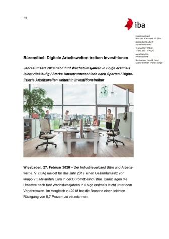 Büromöbel: Digitale Arbeitswelten treiben Investitionen