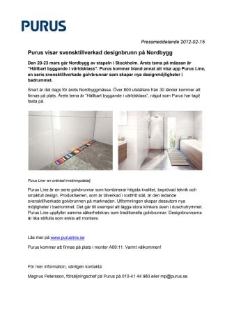 Purus visar svensktillverkad designad golvbrunn på Nordbygg