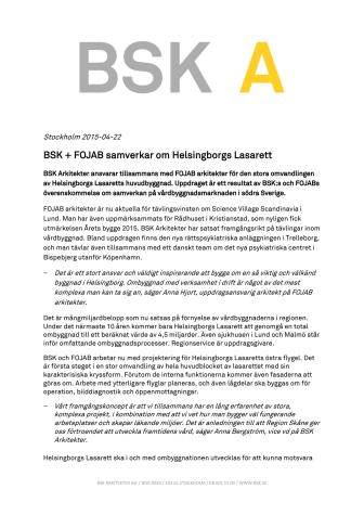 BSK + FOJAB samverkar om Helsingborgs Lasarett