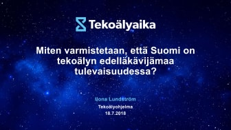 Ilona Lundström: Miten varmistetaan, että Suomi on tekoälyn edelläkävijämaa tulevaisuudessa?