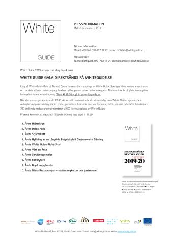 White Guide Gala direktsänds på whiteguide.se