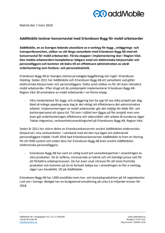 AddMobile tecknar koncernavtal med Erlandsson Bygg för mobil arbetsorder