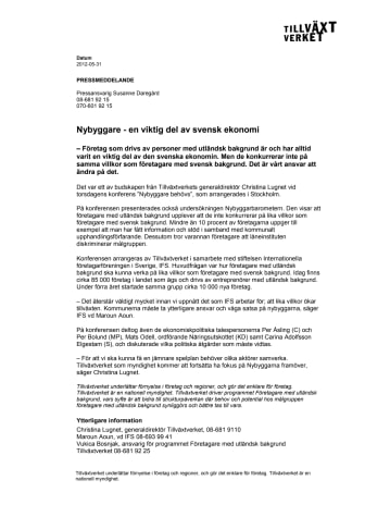 Nybyggare - en viktig del av svensk ekonomi