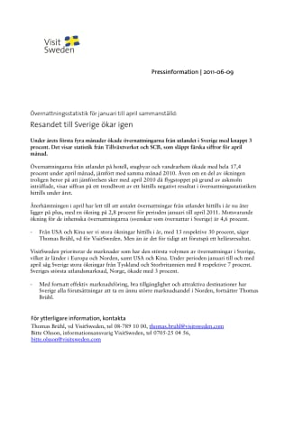 Övernattningsstatistik för januari till april sammanställd: Resandet till Sverige ökar igen