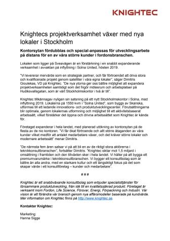 Knightecs projektverksamhet växer med nya lokaler i Stockholm