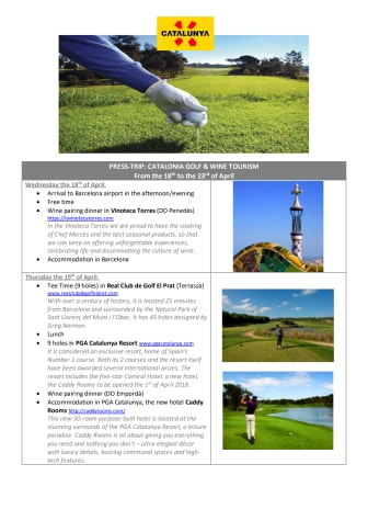 GOLF JOURNALIST PRESSTRIP INVITATION