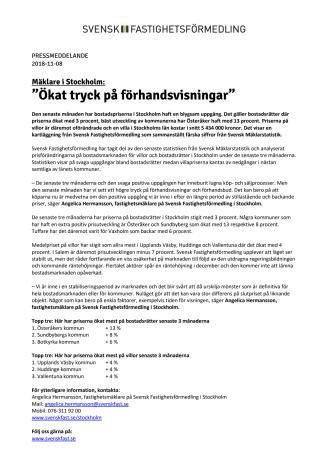 """Mäklare i Stockholm: """"Ökat tryck på förhandsvisningar"""""""