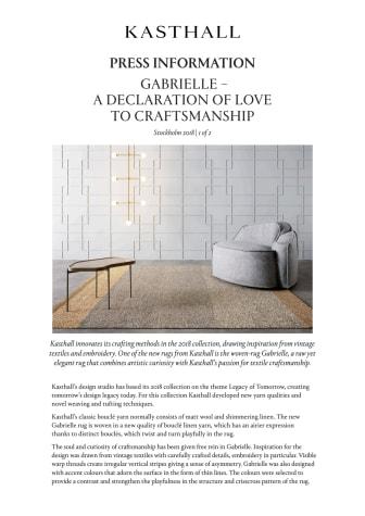 GABRIELLE – A DECLARATION OF LOVE TO CRAFTSMANSHIP