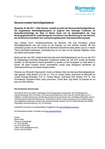 Barmenia erweitert Nachhaltigkeitsbeirat