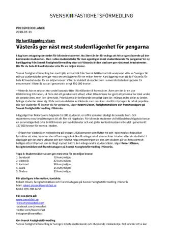 Ny kartläggning visar: Västerås ger näst mest studentlägenhet för pengarna