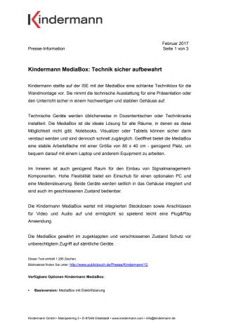 Kindermann MediaBox: Technik sicher aufbewahrt