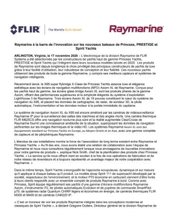Raymarine à la barre de l'innovation sur les nouveaux bateaux de Princess, PRESTIGE et Spirit Yachts