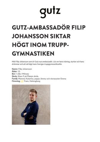Gutz-ambassadör Filip Johansson siktar högt inom tryppgymnastiken