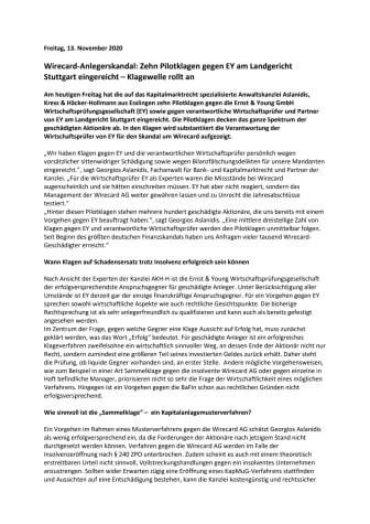 Wirecard-Anlegerskandal: Zehn Pilotklagen gegen EY am Landgericht Stuttgart eingereicht – Klagewelle rollt an