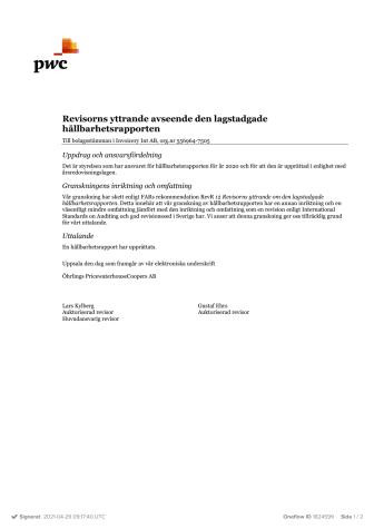 Revisorernas yttrande över Invoicery INTs hållbarhetsrapport 2020