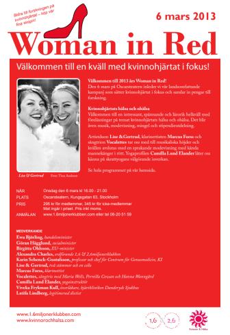 Program för Woman in Red i Stockholm 6 mars