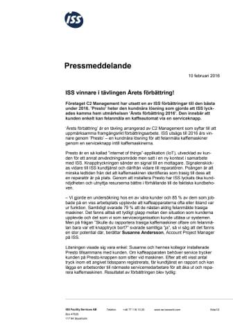ISS vinnare i tävlingen Årets förbättring!