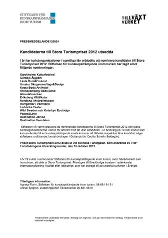 Kandidaterna till Stora Turismpriset 2012 utsedda