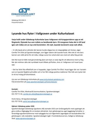 """Lysande hus flyter i Vallgraven under Kulturkalaset """"Konsten har hittat hem"""""""
