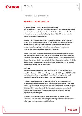 Canon EOS 5D Mk III teknisk förklaring