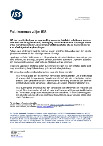 Falu kommun väljer ISS