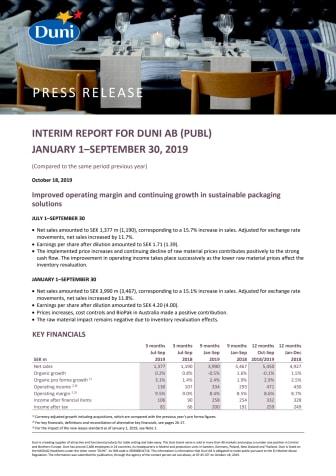 Interim report for Duni AB (publ) January 1–September 30, 2019