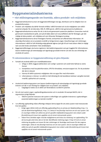 Ställningstagande - Byggmaterialbranschens ställningstagande ang delning av produkt- och miljödata