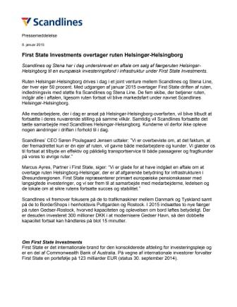 First State Investments overtager ruten Helsingør-Helsingborg