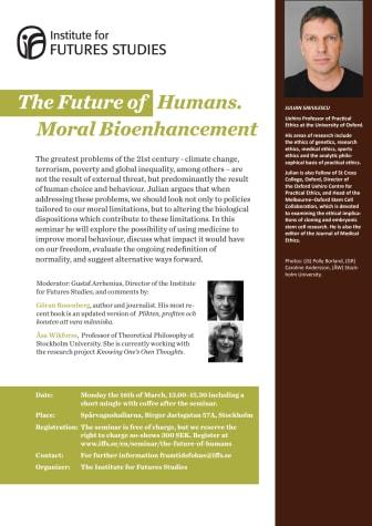 Inbjudan till The Future of Humans. Moral Bioenhancement