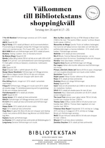 Programblad för shoppingkväll i Bibliotekstan 26 april kl. 17-20