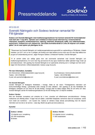 Svenskt Näringsliv och Sodexo tecknar ramavtal för FM-tjänster